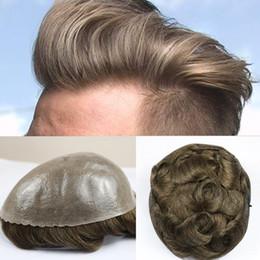 Perruques de peau mince en Ligne-Remplacement de cheveux humains de couleur brune et couleur grise des hommes de perruques durables de peau mince à l'intérieur du toupet de cheveux d'hommes de l'unité centrale