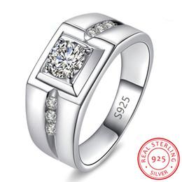 toque para homens ct Desconto Real 925 Sterling Silver Anéis De Casamento Dos Homens Presente Da Jóia 1 Ct Cúbicos De Zircônia Anéis De Noivado Presente Por Atacado R971