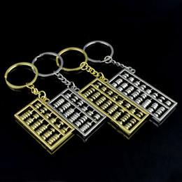 Chinesische goldringe online-Abacus buttons 6 Dateien 8 Dateien Abakus Metall-Schlüsselanhänger Chinese Wind Gold-Silber-Abakus Schlüsselanhänger Ketten Anhänger Mode-Accessoires ZZA885
