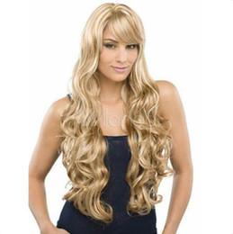Peluca rubias online-Flaxen Mix Blonde Full-Volume Curls Pelucas para el cabello Peluca larga de mujer sexy sintética