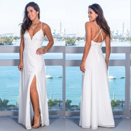 Wholesale Plus Size White Prom Beach Dresses Group Buy