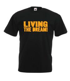 Camisetas de entrenamiento baratas online-VIVIENDO EL SUEÑO entrenamiento de gimnasio idea de regalo de cumpleaños de navidad para hombre para mujer TSHIRT Regalo Imprimir camiseta Hip Hop Camiseta al por mayor barato