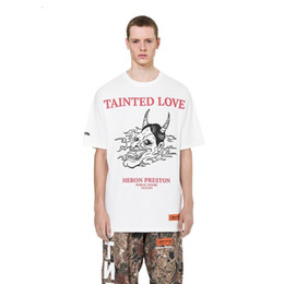 necked painting Coupons - 18SS HERON PRESTON Tainted Love Evil Painting Tee Fashion oversize casual loose men women short-sleeved T-shirt HFTTTX046