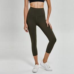 indossando pantaloni di yoga Sconti Donna di yoga pantaloni solidi a vita alta in corso pantaloni sexy Quick Dry elastico fitness indossare leggings donne Outdoor abbigliamento sportivo Designer 05