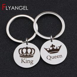 сумка для королевы Скидка Fashion Engraved Love Keychain Engraved King Queen Crown Key Holder Couples Valentine's Gifts Keyring Bag Charm Lover Gifts