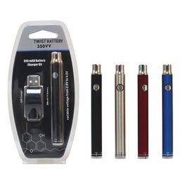 Поворотные ручки онлайн-Twist VV подогрев батареи 350mah Vape Pen блистерные комплекты нижнее переменное напряжение 2.0-4.0 V с USB-зарядным устройством