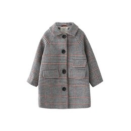 Kinder Mädchen Mantel Winter neue Mode Hahnentritt Wollmantel für Mädchen Teens Herbst Jacke warme lange Oberbekleidung Kinder winddicht von Fabrikanten