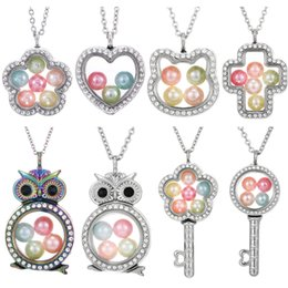 steel floats Promo Codes - Silver Butterfly Cross Owl Living Memory 8mm Beads Magnetic Glass Floating Locket Pendant Necklace Stainless Steel Pearl Cage Locket Charms