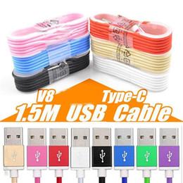 Canada 1.5M Type C 3ft 6ft 10ft Câble de chargeur USB tressé Micro V8 Câbles Ligne de données Prise de charge en métal pour Samsung S8 Plus Offre