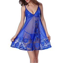 Conjuntos de pijama sexy feminino on-line-Das mulheres Sexy Lingerie de Renda Camisola Sexy Lace-up Sling Strap Mulher Pijama Set Thong Sleepwear Plus Size S-3XL