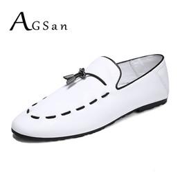 fa151e463b2675 2019 white italian loafers shoes AGSan Mode Leder Kleid Freizeitschuhe Weiß  Schwarz Italienische Müßiggänger Handgefertigte Luxusmarke