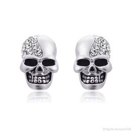 Espárragos del cráneo online-Punky Pendientes calavera de cristal Rhinestone para la Mujer Hombre Pareja de la vendimia del oído pendientes esqueléticos del Hip Hop Espárragos joyas regalos de Halloween