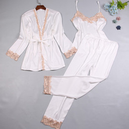 5263090be2 2018 Women Autumn Three Piece Sexy Silk Pajamas Set Lace Sling Long Sleeve  Robe Pants Pajamas Female Fitness Nightgown Sleepwear