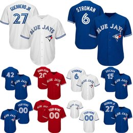 2019 rote blaue jays jersey Customed Toronto 6 Stroman Blau 20 Donaldson Jays 15 Grichuk 27 Guerrero Jr Herren Blau Rot Weiß Trikots rabatt rote blaue jays jersey