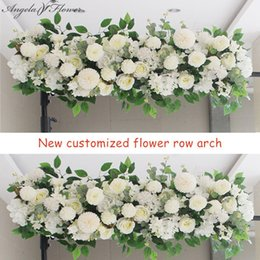50/100 cm Fai Da Te Arrangiamento Forniture di Seta Peonie Rosa Fiore Artificiale Row Decor Wedding Ferro Arco Sfondo Q190522 da