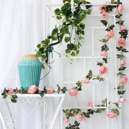 indoor plants decoration Promo Codes - 4Pcs Lot 2M Artificial Rose Vine Silk Flower Rose Decoration Home Indoor Pipe Ceiling Plant Wall Decorative Wedding Fake Flower Strip