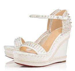 Sandálias de calcanhar on-line-Elgant designer vermelho fundo Madmonica corda trançada cunha tira no tornozelo spikes gladiador sandálias sexy senhoras sandálias de verão de salto alto EU35-42