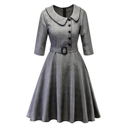 peter pan collar knee length dress Promo Codes - Women Vintage Princess Plaid Peter Pan Collar Irregular Party Aline Swing Dress2019 New robe femme de fiesta #151