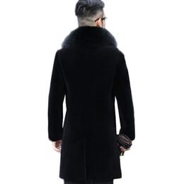 Schafwolle mäntel männer online-Große größe Winter Schwarz Schafschur Oberbekleidung Männer Pelz Einteiliger Mantel Männer Lange Fox Pelzkragen Echtes Leder wolle jacke N453