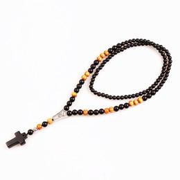 Canada Nouvelle perle en pierre noire Perles en bois avec croix en pierre noire Pendentif Collier chapelet pour homme Bijoux Mala supplier wood stone necklace Offre
