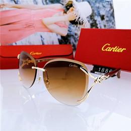 Star vintage en Ligne-Top luxe Qualtiy nouvelle mode femmes lunettes de soleil sans monture Vintage métal épais verre miroir lunettes de soleil haute qualité style étoile avec boîte