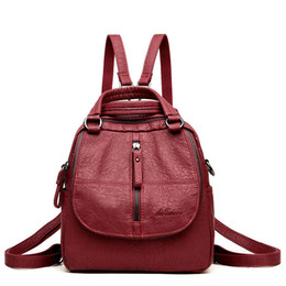 small blue bowl Promo Codes - Multifunctional Women Backpack Female Leather Backpack Small Mochila Feminina School Backpacks For Teenage Girls Bag Sac A Dos Y19051405