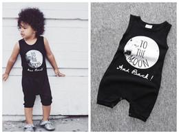 macacões de dormir do bebê Desconto Recém-nascidos da criança macacão bebê menino colete de verão sem mangas one piece letra preta impressão Para A Lua No sono jumpsuit