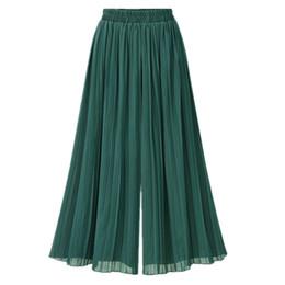 Argentina Gasa de pierna ancha de cintura alta pantalón para las mujeres Nueve puntos Casual plisado de pierna ancha de verano Vintage Boho hembra pantalones verdes B82205a Y19051701 cheap nine point trousers Suministro