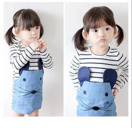 Jeans vestido bonito on-line-2019 nova primavera menina roupas menina do bebê rato dos desenhos animados vestidos bonito menina vestido saia jeans 3-8 t