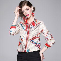 Camisas de manga borboleta on-line-Shirt mulheres outono inverno New Female Borboleta Moda Tie manga comprida impressão moda casual solta de alta qualidade frete grátis atacado