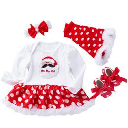 Argentina Ropa de bebé niña 4 UNIDS Bebé recién nacido Princesa de Santa Claus Vestido de Tutú Estampado Trajes Conjunto Cheistams Vestido de Princesa de Santa cheap set santa dresses Suministro
