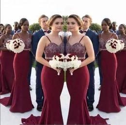 2019 bainha de verão chiffon duas peças Sereia Borgonha Longo Da Dama de Honra Vestidos 2017 Africano Correias Lace Maid Of Honor Vestidos Convidados Do Casamento Vestidos Baratos Custom Made