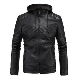 Chaquetas moteras de piel sintética para hombre online-2019 Nueva chaqueta de cuero chaqueta masculino de la motocicleta del sombrero de imitación de cuero de los hombres del motorista de marca de alta calidad de la PU de abrigo