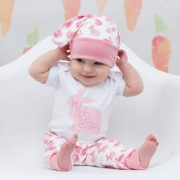 Newborn Baby Girl Boy Cartoon First Easter 3D Bunny 3PC Outfit Jumpsuit Hat Pant