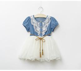 Verão Baby Dress Denim Meninas vestidos 2018 Lace Floral New Kids saia da menina de manga curta vestido de princesa do bebê saia jeans Roupa do bebê de