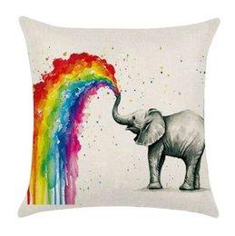 Taie d'oreiller vintage lin coton taille arc-en-ciel animal zèbre éléphant licorne oiseau loup motif taie d'oreiller ? partir de fabricateur