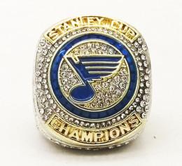2019 anillo de diamantes de cristal swarovski 18k Dropshippng Para el 1er anillo de campeonato 2019 St.Louis Blues ring