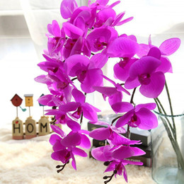 velas flutuantes frete grátis Desconto Flores artificiais Real Toque Artificial Orquídea Mariposa Borboleta Orquídea para Casa Nova Casa Festival de Casamento Decoração Flores De Seda Orquídeas