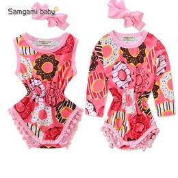 e7848ab5de 2019 summer clothes baby girl One-Pieces new kids cute donut print ball  jumpsuit + headwear girls Swim suit Free shipping