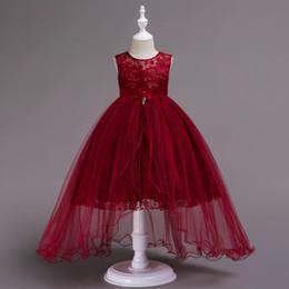 vestidos bonitos para aniversário das meninas Desconto Meninas Floral Rosa Formal Vestidos Crianças Red Pretty Roupas De Casamento Crianças Festa De Aniversário Da Princesa Vestidos Vestido De Noite