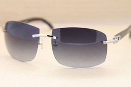 89ec8db487 Brand Black Buffalo Horn Glasses Sunglasses Fashion Rimless Sun Glasses  Natural Buffalo Horn Sunglasses Gray Brown Lenses Glasses with Casex