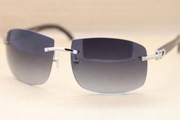 92a61cd3f4 Brand Black Buffalo Horn Glasses Sunglasses Fashion Rimless Sun Glasses  Natural Buffalo Horn Sunglasses Gray Brown Lenses Glasses with Casex