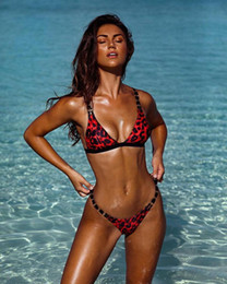 2019 leopardo rosso Costumi da bagno perizoma in micro tanga a fascia Bikini tanga in due pezzi Costumi da bagno donna costume Sexy lady costumi da bagno cheap two piece women swimwear red da due pezzi donne swimwear rosso fornitori