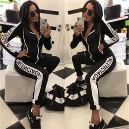 venda por atacado roupas americanas frete grátis Desconto Fato de Treino mulheres de Luxo Suor Ternos Outono Marca das mulheres Treinos de Treino de Jogger Ternos Jaqueta + Calças Conjuntos Terno Esportivo