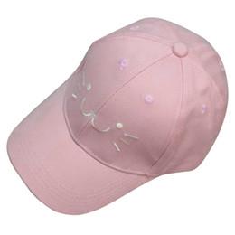 Mode einstellbare stickerei snapback baseball cap niedlichen cartoon cat gesicht hip hop flache hut casual cap für junge mädchen (rosa) von Fabrikanten