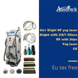 Láser elight rf ipl yag online-2018 Pro multifunción Radio frecuencia estiramiento facial tatuaje eliminación de vello elight opt shr rf nd yag láser ipl máquina