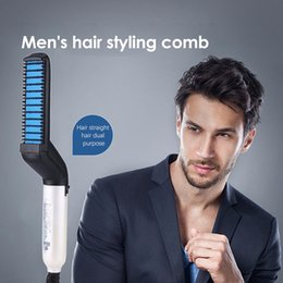 straightener combs Promo Codes - Multifunctional Hair Comb Quick Beard Straightener Curling Curler Show Cap Men Beauty Hair Styling Tool OPP Bag Pack