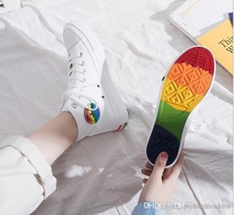 Argentina 2020 Moda nuevo multicolor las mujeres ocasionales de los deportes de alta superior del arco iris zapatos de suela de lona de los zapatos corrientes zapatillas de deporte Suministro