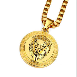 lion head pendant wholesale Coupons - European and American Fashion Personality Accessories Originally Tide Lion Head Circular Hanging Necklace Hip-hop Necklace for Men and Women