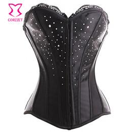 Vestiti vittoriani online-Sladuo Raso con strass Victorian Showgirl Corsetto Overbust Gothic Abbigliamento Donna Corsetti Et Bustiers Corsetto sexy